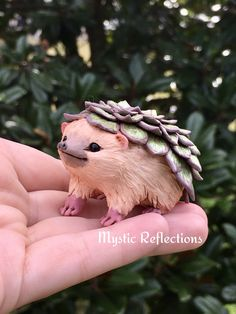 Succulent Hedgehog Animal Plant Pal Handmade Ooak Polymerclay Sculpture by Mystic Reflections Hedgehog Animal, Polymer Clay Creations, Mystic, Succulents, Owl, Sculpture, Bird, Plants, Handmade
