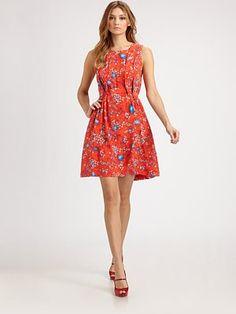 cacharel brightly-hued floral silk dress