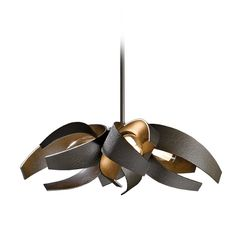 Forged Iron Adjustable Pendant Light in Dark Smoke Finish. This is not only a pendant light fixture, but also a work of art made in Vermont by Hubbardton Forge Lighting.