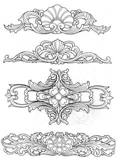Zhaolong his city of the album - Chinese craft patterns ◎ wood carving patterns Wood Carving Designs, Wood Carving Patterns, Leather Tooling Patterns, Leather Pattern, Leather Carving, Dotwork Tattoo Mandala, Ornament Drawing, Jugendstil Design, Metal Embossing