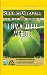 Seeds of Change S11020 Certified Organic Verde Tomatillo by Seeds of Change. $4.99. Hermetically sealed package that is re-sealable gives longer life and higher germination rates. 100-Percent certified organic seeds grown in the USA for over 20-year. Seeds of change contributes 1-percent of net sales to advance the cause of sustainable organic agriculture worldwide. Free of GMO's (genetically modified organisms), chemicals and pesticides. Independently tested for high germinatio...