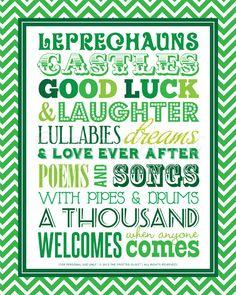 St. Patrick's Day Poem Subway Art