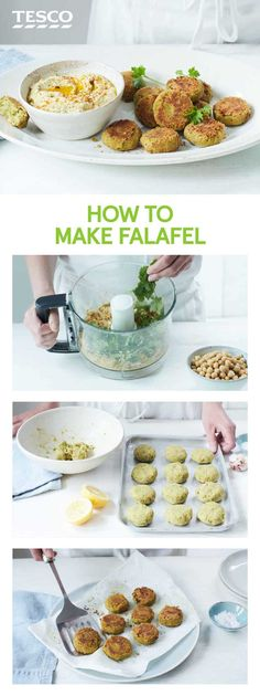 Master the traditional Middle Eastern snack with our easy falafel recipe, served with a creamy hummus. | Tesco