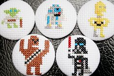 Star Wars cross stitch magnets!