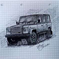 Тоже кривой.  #car #landrover #defender #landroverdefender #jaguarlandrover #4x4 #offroad #sketch #drawing #blackandwhite #student by the_yellow_cactus Тоже кривой.  #car #landrover #defender #landroverdefender #jaguarlandrover #4x4 #offroad #sketch #drawing #blackandwhite #student