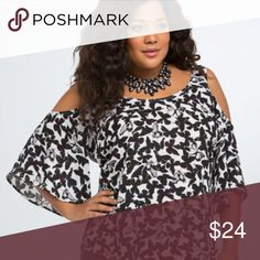 "Torrid Butterfly Georgette Cold Shoulder Top Plus Torrid Butterfly Georgette Cold Shoulder Top Plus Size 1X Black White Flutter   In Excellent Used Condition- no rips, tears, holes- Stored in a clean, smoke free home.  Measurements laying flat-  Pit to pit: 24""  Length: 29"" torrid Tops Blouses"