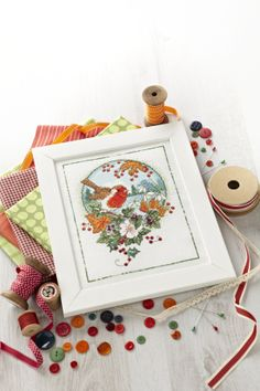 Lesley Teare depicts a traditional winter scene with this cross stitch robin. http://www.myfavouritemagazines.co.uk/stitch-craft/cross-stitch-collection-magazine-back-issues/cross-stitch-collection-xmas-13/