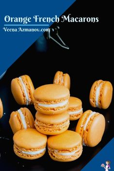 Orange French macarons are a delicacy on their own. Often filled with orange curd, marmalade, and buttercreams that almost melts in the mouth. My full proof macaron recipe is simple, easy, and effortless that will have you making macarons over and over again successfully #macarons #orange #recipe #nofail