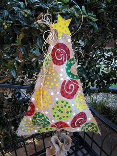Burlap Christmas Tree Burlap Door Hanger