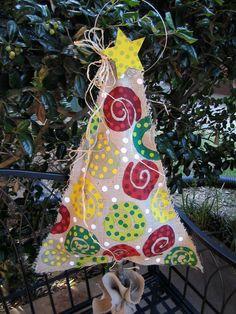 Burlap Christmas Tree Burlap Door Hanger by nursejeanneg on Etsy, $28.00