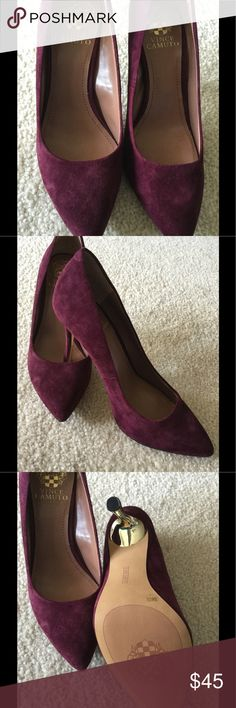 """Vince Camuto Genuine Suede Wine Heel Size 7.5, fits pretty much TTS, heel height 4"""", never worn Vince Camuto Shoes Heels"""