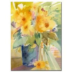 @Overstock - Add a bright, fresh touch to your home or office with this beautiful canvas art print of Sheila Goldens Bouquet in Yellow. This small gallery-wrapped print features a floral design in shades of yellow that instantly enliven any room.http://www.overstock.com/Home-Garden/Sheila-Golden-Bouquet-in-Yellow-Canvas-Art/5963136/product.html?CID=214117 $26.54