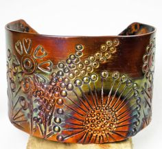 Stamped Copper Cuff Anticlastic Floral Copper by FebraRose on Etsy