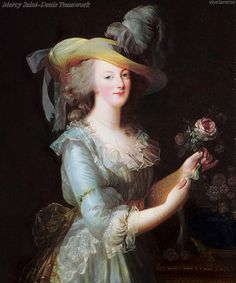 A semi-blend of the two Vigee-Lebrun Marie Antoinette with a rose paintings via vivelareine.