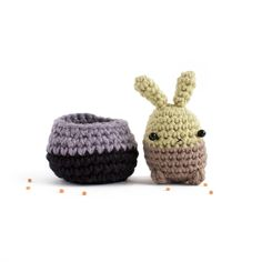 This amigurumi bunny succulent lives in a small crocheted planter. Bunny is crocheted with soft merino wool, and is about 6 cm (2.4 in) tall...