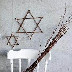 Decorate your home for Hanukkah with stars made from sticks.