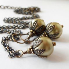 Bridesmaid Jewelry Sets Pale Olive Pearl Necklace and Earrings Willow Wedding Jewelry Rustic Jewelry Light Olive Bridesmaid Sets Bronwyn