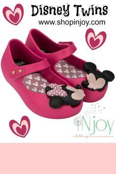 Mini Melissa Disney Twins Ultragirl Shoe... Fuchsia Pink Kissing Mickey & Minnie, $65