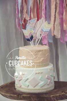 Amazing cake at a boho tribal birthday party! See more party planning ideas at CatchMyParty.com!