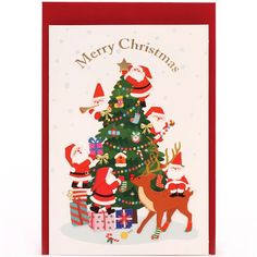 cute Santa Claus Christmas tree glitter letter postcard from Japan 1