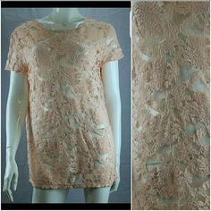 Plus size coral lace blouse New! 1X and 2X available. Keyhole back, short sleeve JJC Tops Blouses
