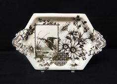 Victorian Brown Transferware Pickle Tray ~ Kingfisher 1883 from aesthetictransferware on Ruby Lane