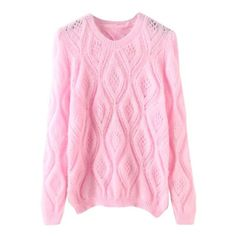 Pink Round Neck Hollow Diamond Patterned Sweater ($25) ❤ liked on Polyvore featuring tops, sweaters, round neck sweater, long sweaters, round neck top, pink top and long tops