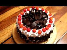 Eggless Black Forest Cake | DivineTaste Cake Recipes In Hindi, Dessert Cake Recipes, Homemade Cake Recipes, Delicious Cake Recipes, Yummy Cakes, Desserts, Eggless Recipes, Sweet Recipes, Bread Recipes