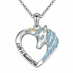 Sparkly Jewelry, Silver Jewelry, Crystal Jewelry, Unicorn Necklace, Beautiful Unicorn, Birthstone Jewelry, Heart Pendant Necklace, Hair Jewelry, Jewelry Shop