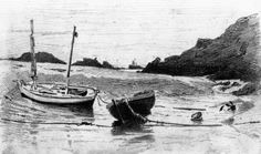 John Singer Sargent - 1875c - Two Small Boats Moored to Beach graphite on paper 10 x 16.5 cm