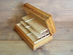 Vintage Cigarette Box Wooden Pirography Cigarette Box