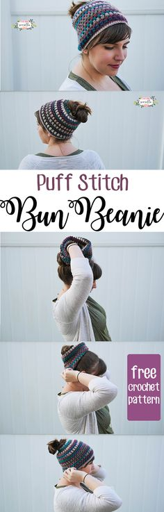 puff stitch crochet bun beanie or messy bun hat or mom bun hat | perfect for pulling that bun through a fashionable, warm hat! | A quick, easy beginner free pattern from Sewrella