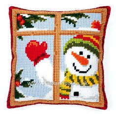 Buy Happy Snowman Cushion Front Chunky Cross Stitch Kit Online at www.sewandso.co.uk