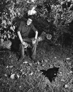 *William S. Burroughs and cat friend.