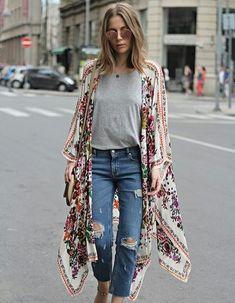Jeans,  simple T-shirt & kimono