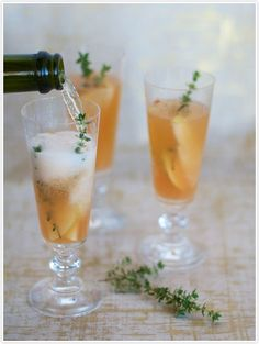 Sparkling Pear & Thyme Cocktail | Camille Styles