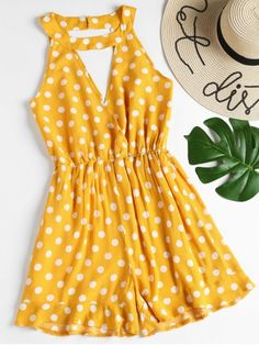 Sleeveless Ruffles Polka Dot Romper. Look posh in this sleeveless polka pot romper which meets maximum fun. It features a double keyhole cutout detailing on the front and back with a button-and-loop closure at the back of the collar and a surplice bodice with elastic waist, ending with a ruffled hem. It is perfect for a sunny day. #Zaful #Romper #Outfits