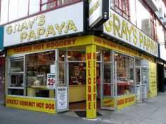 Gray's Papaya is famous for its inexpensive, high-quality hot dogs. It is a top eat in New York City.