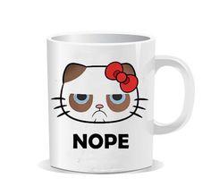 hello kitty grumpy cat nope design for Coffee Mug,Funny Coffee Cup, Quote Mug, Funny Mug