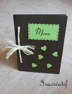 Menu vert et marron pour mariage, baptême... : Cartes par isacreatif