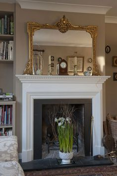 Decorative over mantle mirror. Mirror Over Fireplace, Fireplace Mirror, Fireplace Design, Fireplace Mantels, Painting Fireplace, Mantle Shelf, Fireplace Surrounds, Wall Mirror, Living Room Grey