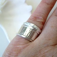 Sterling silver stacking ring set with scrolling door BrookeJewelry