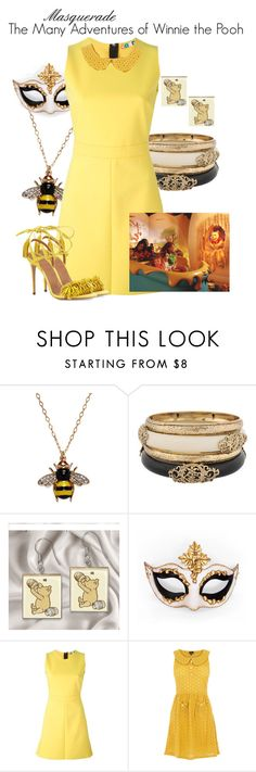"""""""Masquerade: The Many Adventures of Winnie the Pooh"""" by jivy44 ❤ liked on Polyvore featuring Kenneth Jay Lane, Forever 21, Masquerade, MSGM, Oasis and Aquazzura"""