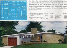 All Time Modern House Designs – My Life Spot Mid Century House, Mid Century Style, Mid Century Modern Design, Vintage House Plans, Modern House Plans, Vintage Houses, Mcm House, House Floor, Vintage Architecture