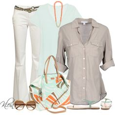 Mint and Orange Summer by stacy-klein, via Polyvore