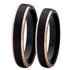 Soul Men 1 Pair 4mm Men's & Women's Black with Rose Gold Color Tungsten Couple Rings Set Wedding Band Comfort Fit #Affiliate