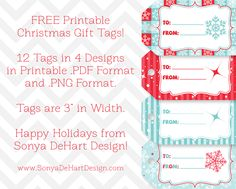 FREE Printable Christmas Tags from Sonya DeHart Design!