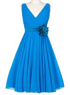 Sleeveless Chiffon Knee Length Lace Up Back V-Neck Flower Sash Pleats Bridesmaid Dress