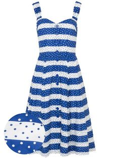 EMILY AND FIN, Jenny navy Spots and Stripes Retro Kleid