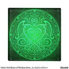Celtic Owl Heart of Wisdom Green Glass Coaster